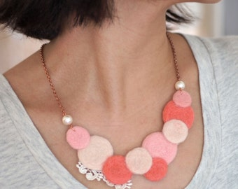 Bubble Gum Color Polka Dot Circle felt wool Necklace ( Tailor-made color )