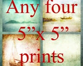 ANY FOUR 5x5 PRINTS - Super offer - Fine Art Photographic Prints, four x 5x5