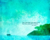Nautical poster print  photograph John Lennon quote blue boat landscape seashore turquoise office home wall art 11x11