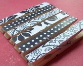 Black and White Decorative Wooden Clothespins - Set of 6