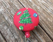 Christmas Tree Covered Button Retractable Badge Reel Holder