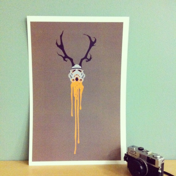 "Star Wars Print ""The Hunted"" Stormtrooper with antlers"