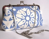 NEW and ready to ship blue clutch purse with chain Amy Butler fabric