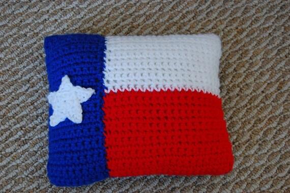 Crocheted Texas Flag pillow