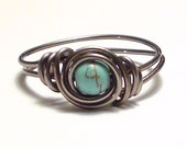 Size 6.5 Turquoise and Gunmetal Wire Wrapped Ring