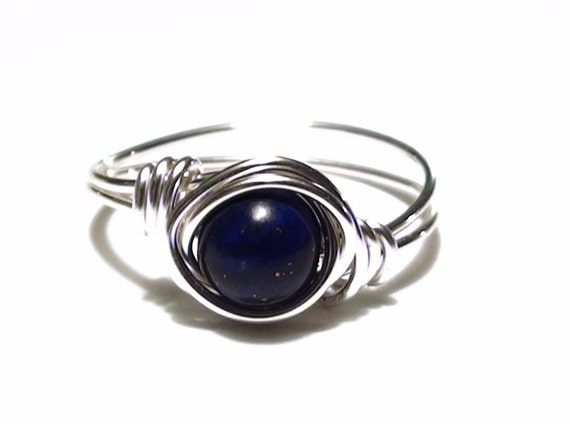 Lapis Silver Filled or Silver Plated Wire Wrapped Ring, Lapis Silver Filled Wire Wrapped Ring, Blue Gemstone Silver Wire Ring, Custom Sized