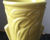 Vintage USA deco yellow art pottery vase