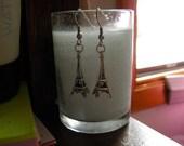 Three-Dimensional Sterling Silver Dangle Eiffel Tower Earrings