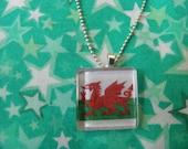 Welsh Flag Glass Pendant Necklace