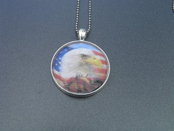Bald Eagle and American Flag Cabochon Necklace