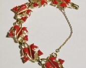 Coro Red Enamel Leaf Link Bracelet