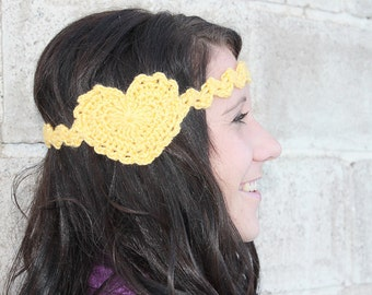 CROCHET PATTERN PDF - Instant Download - Frilly Heart Headband - Permission to Sell Finished Items
