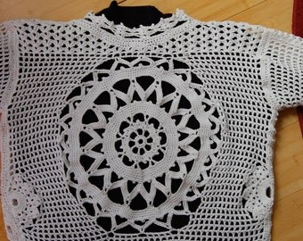 Crochet Cardigan Jacket Sweater Crochet Lace Original Design and One of a Kind Size Small