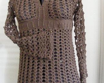 Crochet Tunic in Driftwood, Size Small in Bamboo Blend CLEARANCE