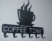 Coffee Time, Key Rack, Coffee Cup Holder, Wall decor, Metal Art