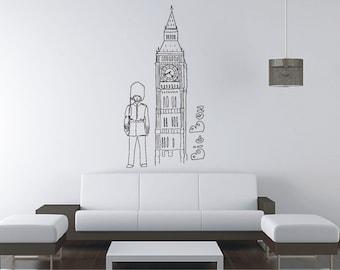 London Big Ben   LARGE Wall Sticker, Vinyl Decal, Wall Tattoo, Mural Art