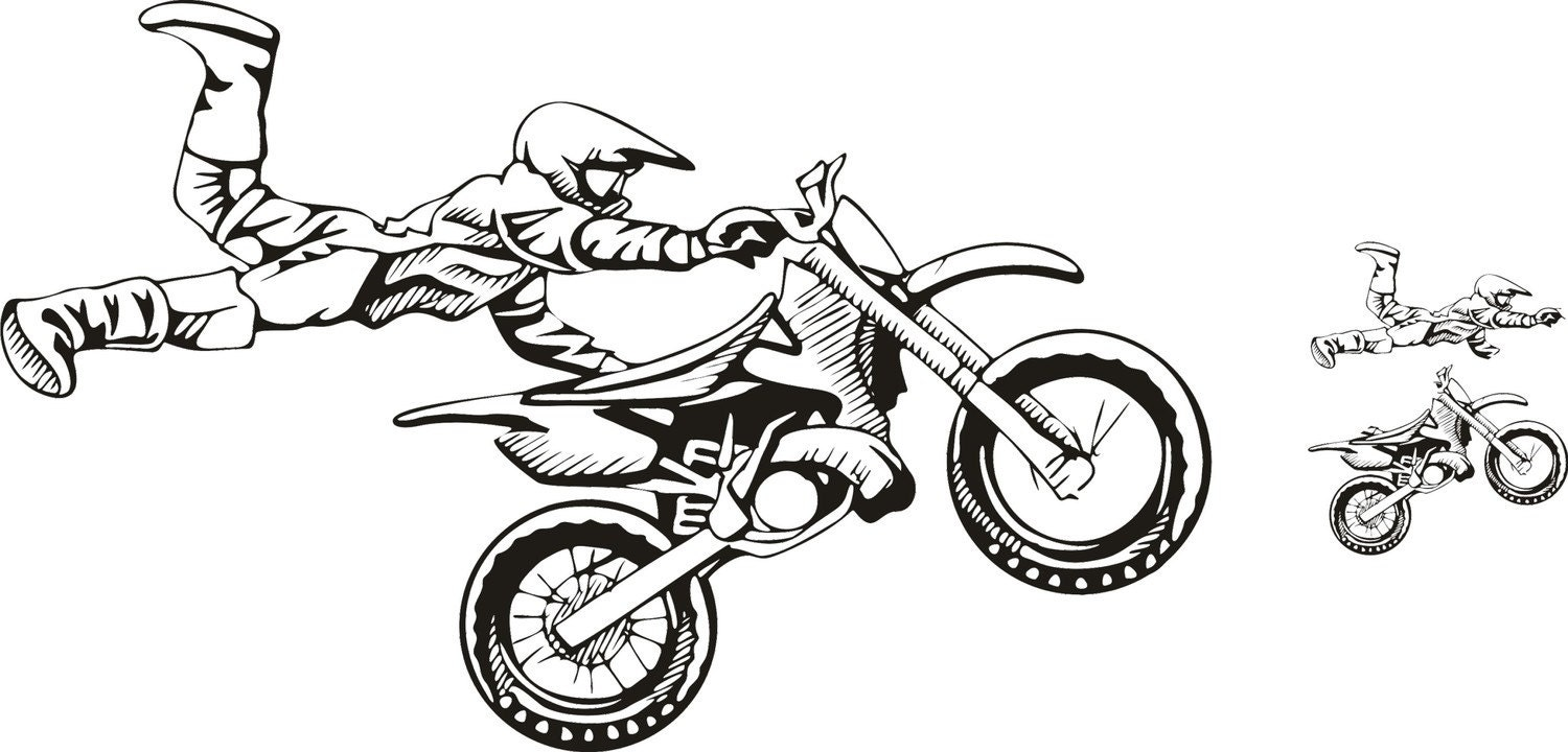 motocross vinyl decal wall sticker wall tattoo. Black Bedroom Furniture Sets. Home Design Ideas
