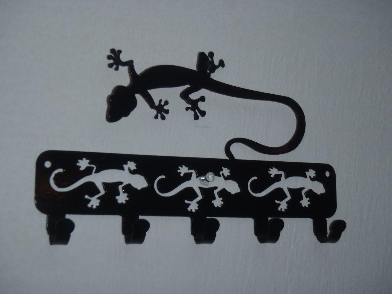 Wall Decor With Key Hooks : Gecko key rack wall decor metal art