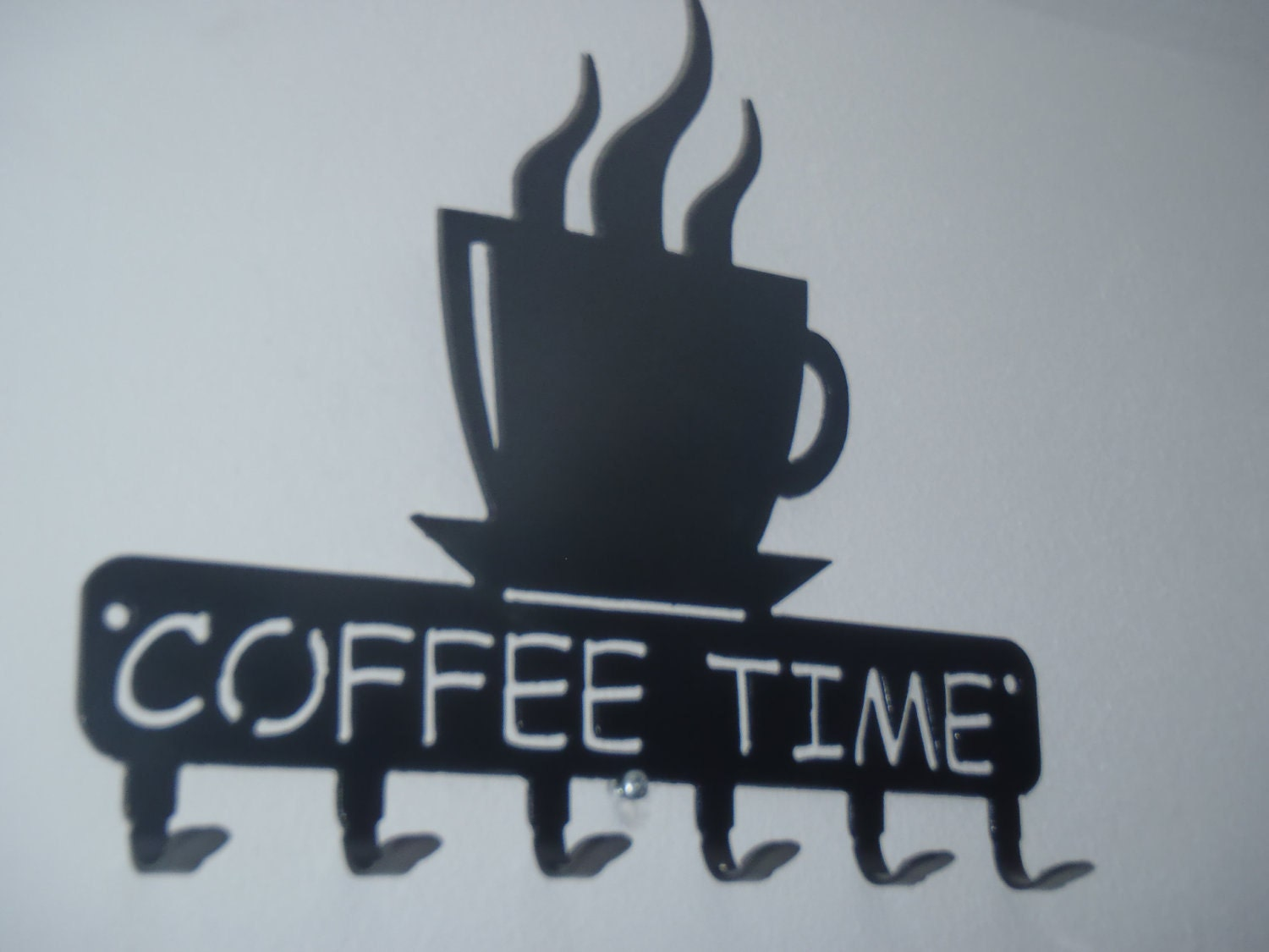 Coffee time key rack coffee cup holder wall decor metal zoom amipublicfo Image collections