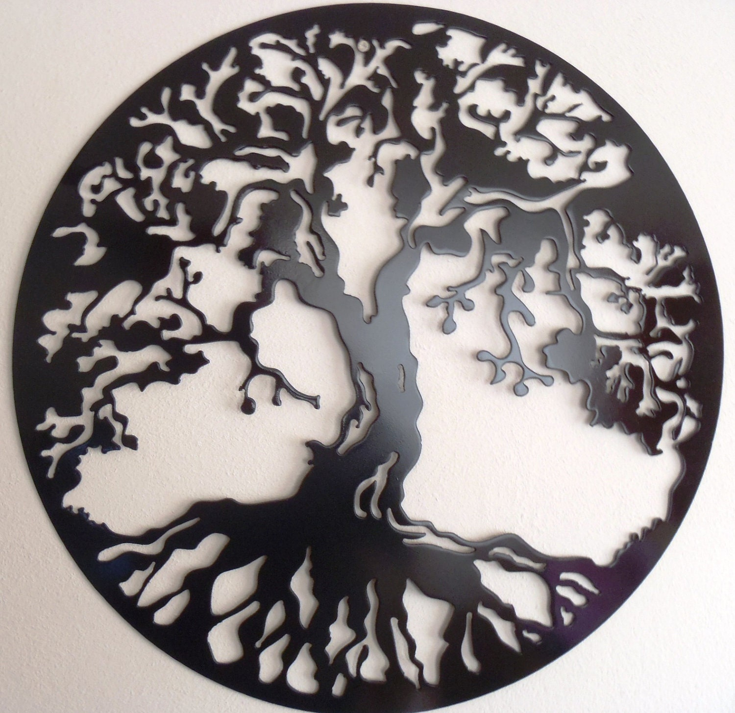 tree of life wall decor metal art black