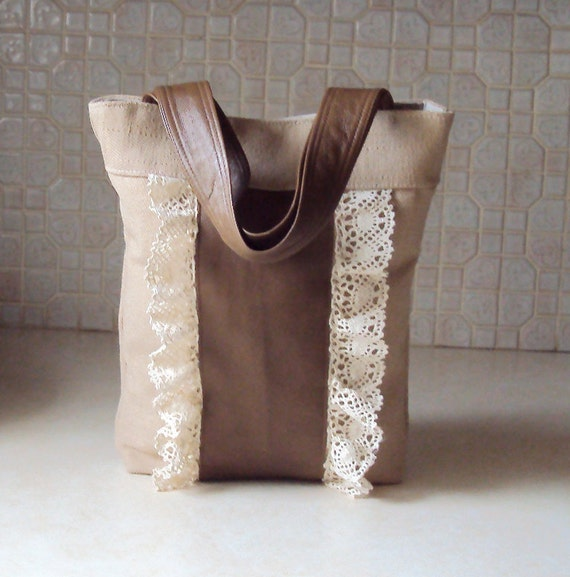 Upcycled Leather Tote with Vintage Ruffled Lace and Herringbone Fabric - Repurposed Bag with Leather Handles OOAK
