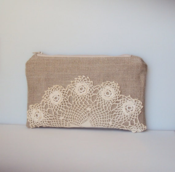 Burlap Vintage Doily Zipper Pouch - Clutch in Beige - Ready to Ship