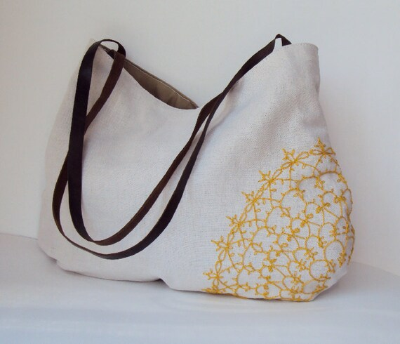 Hand Embroidered Tatted Lace Doily Linen Purse with Leather Handles in Yellow