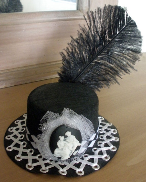 Corseted Black and White Mini Top Hat