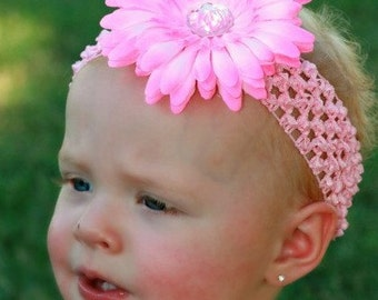 Crochet Headband with Gerbera Daisy in Pink, Yellow, Purple, Green,  Turquoise or White