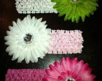 3 Gerbera Daisy with a matching Crochet Headband