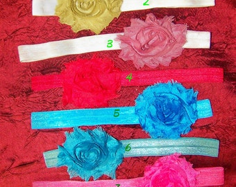 3 Shabby Chic Chiffon Rosettes - Newborn, Baby,Toddler, Girl and Adults Elastic Headband.  Photo Prop