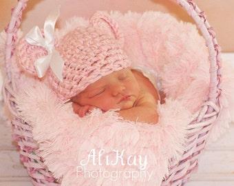 Crochet Baby Hat, Baby Bear Hat, Bear Beanie, Bear Hat, Animal Hat, Baby Girl Hat, Newborn Baby Hat, Newborn Prop, Crochet Baby Hat