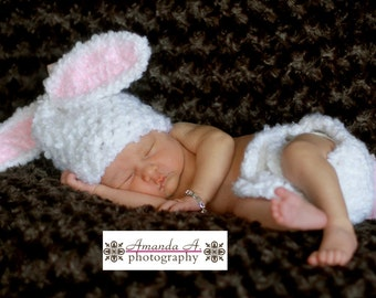 Crochet Baby Bunny Hat and Diaper Cover, Crochet Baby Hat, Newborn Beanie, Baby Bunny Hat, Bunny Beanie, Crochet Bunny Hat, Newborn Baby Hat