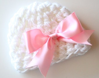 Crochet Baby Hat, Baby Girl Hat, Newborn Beanie, Baby Newborn Hat, Baby Girl, Newborn Prop, White Pink, Baby Girl Beanie, Newborn Girl Hat