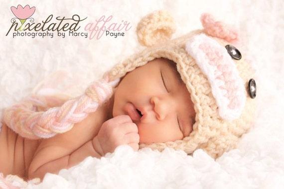 Crochet Baby Hat, Sock Monkey Girl Hat, Baby Girl Hat, Ear Flap Hat, Baby Newborn Hat, Baby Hat, Newborn Prop, Baby Girl, Newborn Girl Hat