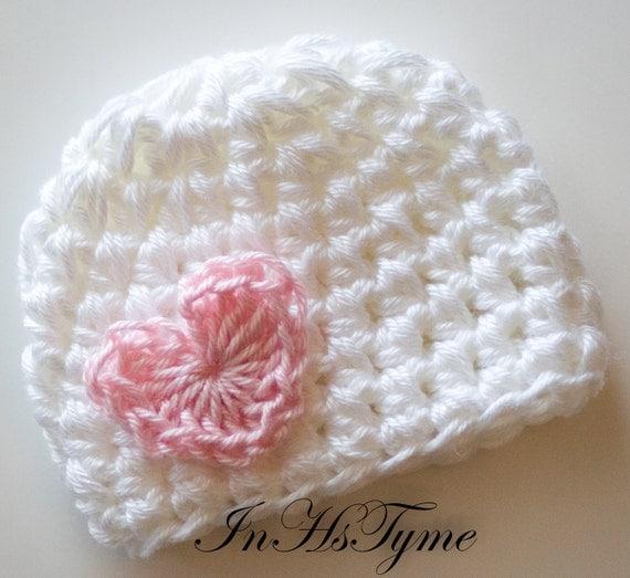 Baby Girl Hat, Crochet Baby Hat, Newborn Beanie, Baby Newborn Hat, Baby Girl, Newborn Prop, White Pink, Valentine Heart, Newborn Girl Hat