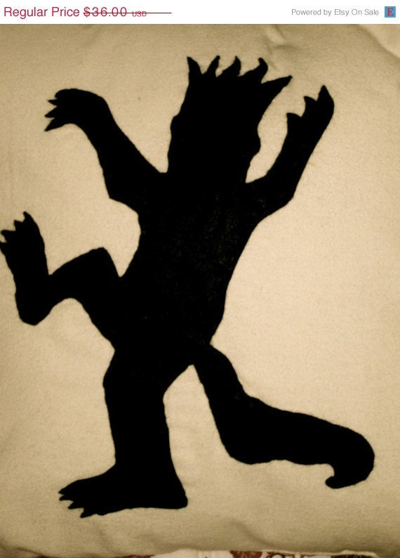 ON SALE Where the Wild Things Are King Max Black Silhouette Cotton and Wool Felt Accent Pillow