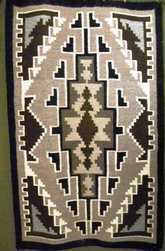 Vintage Two Gray Hills Navajo Rug