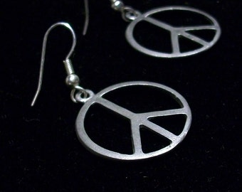 Peace Sign Earrings, Medium with Sterling Silver Earwires