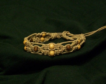 Hemp Anklet or Bracelet, Fancy Lacey Weave with Wood Beads, 6 Strands