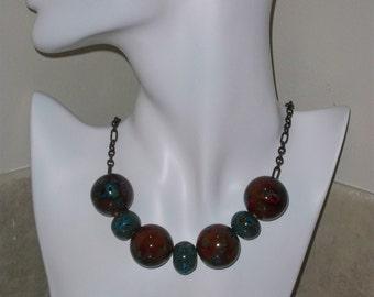 Blue Fire Porcelain necklace (item 5811)