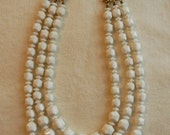 chunky beaded triple strand necklace by deauville, white and gold tone