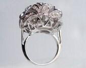 Vintage 50's Panetta Sterling Silver Cocktail Ring Wedding Art Deco Rhinestone Crystal Leaf Design Size 7