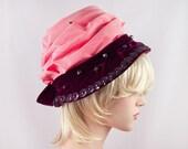 Vintage Salmon Pink Folded Silk Purple Velvet Sequin Aurora Borealis Bead Spring Royal Wedding Ascot Hat