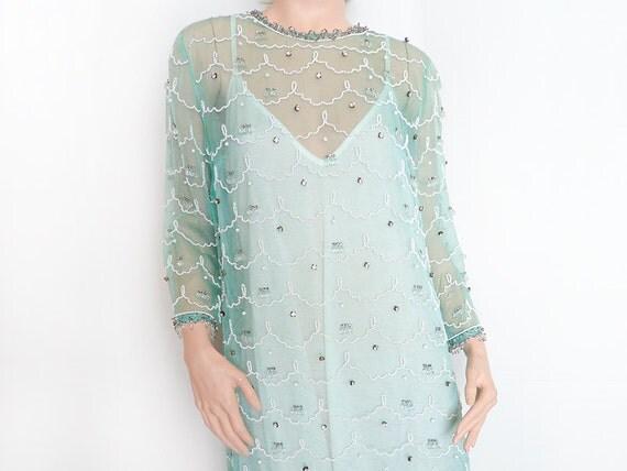 Vintage 50's Aqua Sheer Mesh Beaded Rhinestone Full Length Dress Gown