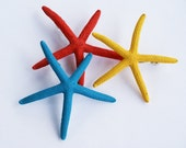 Color Starfish Hair Pins SALE - Yellow, Turquoise, Red