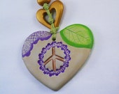 Peace Sign Heart Necklace Hippie - SandyArtesanias