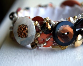 Vintage Button Upcycled  Bracelet, Ginger and Brown, Stretch Size Small