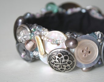 Mother of Pearl Button Bracelet, Silver & Pewter Toned Vintage Notions, Celtic Inspired