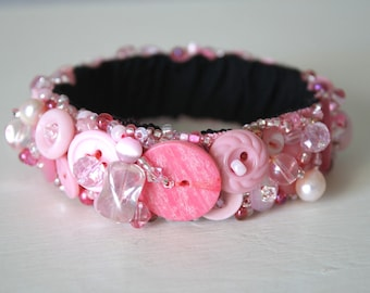 Button Bracelet Pink-Pink, Re-purposed Vintage Buttons, Upcycled Jewelry